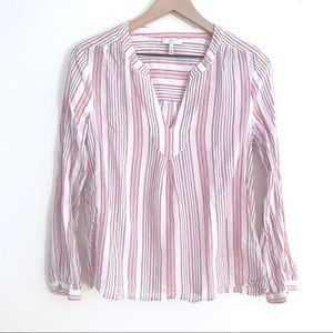 JOIE Long Sleeve Striped Cotton Tunic Style Top